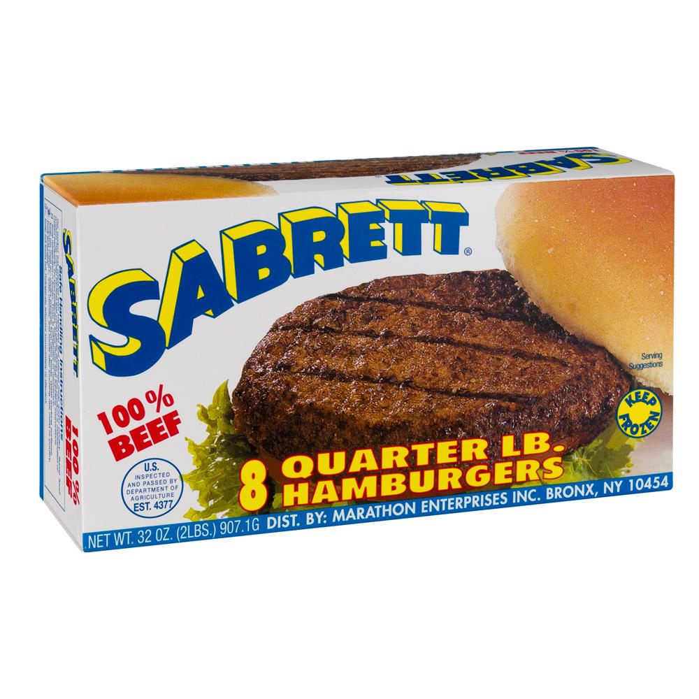 00074338009080 Sabrett 100% Beef Quarter LB. Hamburgers - 8 CT
