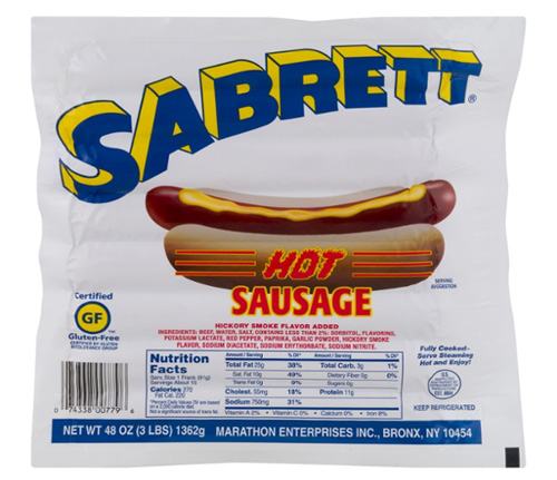 Are Sabrett Hot Dogs Gluten Free